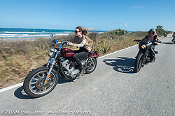 Tracy Herndon and the Iron Lillies riding north on A1A  for the Hot Leathers ride during the Daytona Bike Week 75th Anniversary event. FL, USA. Tuesday March 8, 2016.  Photography ©2016 Michael Lichter.