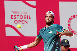 May 6, 2018 - Estoril, Portugal - Joao Sousa of Portugal returns a ball to Frances Tiafoe of US during the Millennium Estoril Open ATP 250 tennis tournament final, at the Clube de Tenis do Estoril in Estoril, Portugal on May 6, 2018. (Joao Sousa won 2-0) (Credit Image: © Pedro Fiuza/NurPhoto via ZUMA Press)