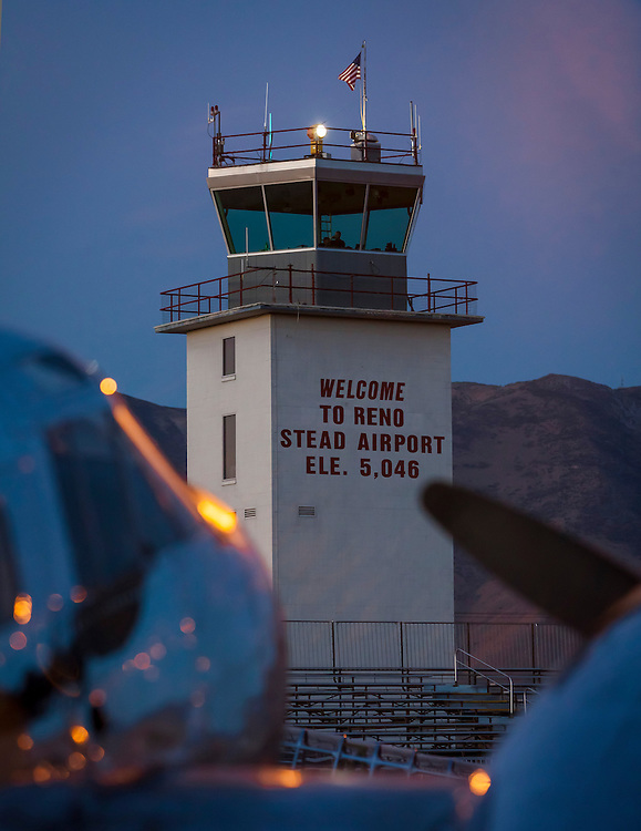 The Reno-Stead airport tower, photographed at dawn, during the 2012 Reno Air Races.