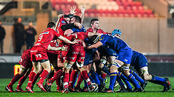 Leinster and Scarlets scrum pops up<br /> <br /> Photographer Craig Thomas/Replay Images<br /> <br /> Guinness PRO14 Round 17 - Scarlets v Leinster - Friday 9th March 2018 - Parc Y Scarlets - Llanelli<br /> <br /> World Copyright © Replay Images . All rights reserved. info@replayimages.co.uk - http://replayimages.co.uk