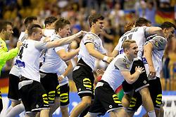 Players of Germany celebrate win against Portugal after handball match between National teams of Germany and Portugal in game for Third place of 2018 EHF U20 Men's European Championship, on July 29, 2018 in Arena Zlatorog, Celje, Slovenia. Photo by Urban Urbanc / Sportida