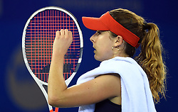 WUHAN, Sept. 28, 2017 Alize Cornet of France fixes her racket during the singles quarterfinal match against Maria Sakkari of Greece at 2017 WTA Wuhan Open in Wuhan, capital of central China's Hubei Province, on Sept. 28, 2017. Alize Cornet lost 0-2.  wll) (Credit Image: © Cheng Min/Xinhua via ZUMA Wire)