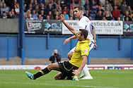 Bury's Danny Nardiello scores his sides first goal. Skybet football league two match, Bury v Burton Albion at the JD Stadium, Gigg Lane in Bury, Lancs on Saturday 20th Sept 2014.<br /> pic by David Richards,  Andrew Orchard sports photography.
