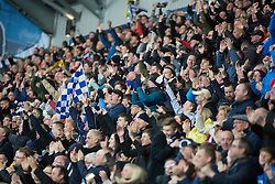 South stand fans after Falkirk's Luke Leahy second goal. Falkirk 3 v 2 Hibernian, Scottish Premiership play-off final, played 13/5/2016 at The Falkirk Stadium.