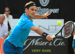 STUTTGART, June 17, 2018  Roger Federer of Switzerland returns a shot during the singles semifinal of ATP Mercedes Cup tennis tournament against Nick Kyrgios of Australia in Stuttgart, Germany on June 16, 2018. Roger Federer won 2-1. (Credit Image: © Philippe Ruiz/Xinhua via ZUMA Wire)