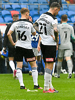 Football - 2020 / 2021 Sky Bet Championship - Cardiff City vs Rotherham United - Cardiff city Stadium<br /> <br /> Angus MacDonald Rotherham United  & Jamie Lindsay Rotherham Unitedon the pitch looking dejected after the final whistle. Rotherham's draw with Cardiff will result in relegation.<br /> <br /> COLORSPORT/WINSTON BYNORTH