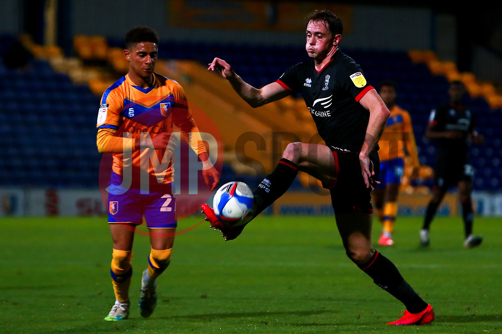 Theo Archibald of Lincoln City controls the ball - Mandatory by-line: Ryan Crockett/JMP - 06/10/2020 - FOOTBALL - One Call Stadium - Mansfield, England - Mansfield Town v Lincoln City - Leasing.com Trophy