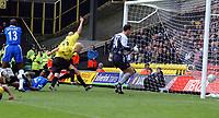 Fotball<br /> FA-cup England<br /> 3. runde<br /> 03.01.2004<br /> Foto: Digitalsport<br /> Norway Only<br /> <br /> Watford v Chelsea<br /> <br /> GAVIN MAHON BEATS TEAM MATE HEIDAR HELGUSON TO THE BALL TO HEAD WATFORD INTO 2-1 LEAD