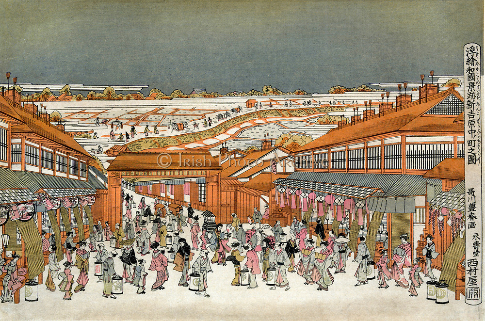 Perspective views of famous place of Japan: Nakanocho in Shin-Yoshiwaro, c1775. Utagawa Toyoharu (1735-1814) Japanese Ukiyo-e artist.Teahouses and shops lining busy boulevard at night by gate of the pleasure district of Tokyo.