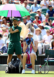 Naomi Broady in her chair during a change of ends on day two of the Wimbledon Championships at the All England Lawn Tennis and Croquet Club, Wimbledon