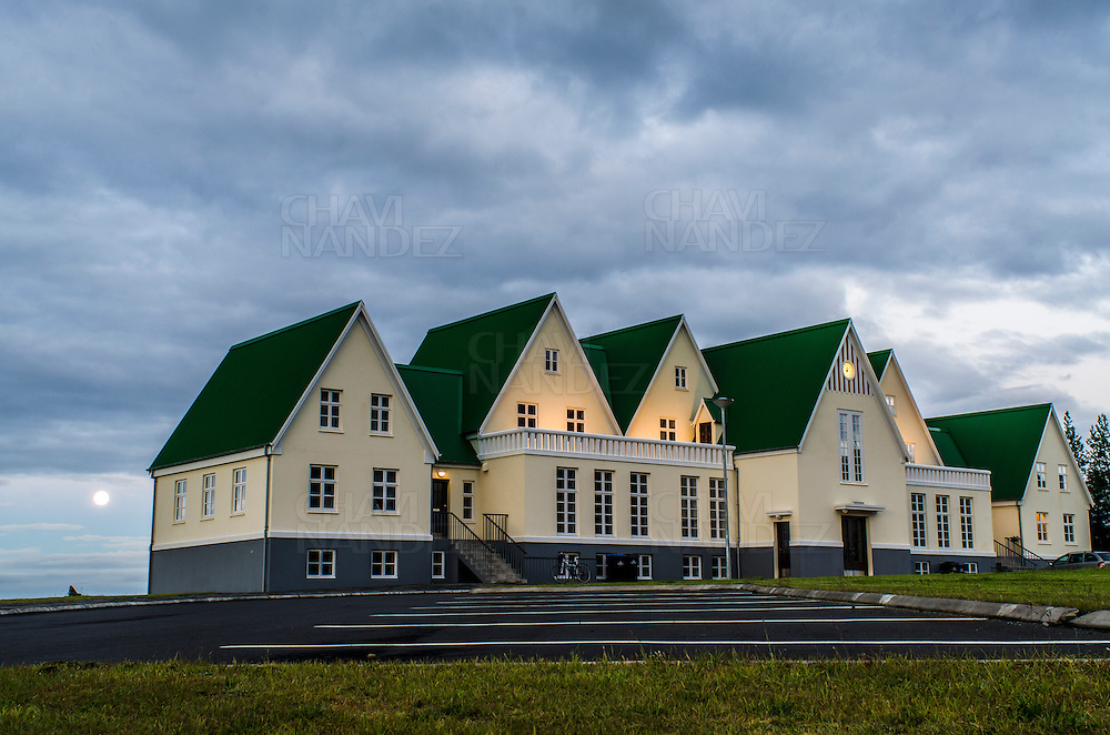 Typical house facade at Laugarvatn village, Iceland