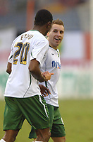 Photo: Paul Greenwood.<br />Blackpool v Norwich City. The FA Cup. 27/01/2007. Norwich's Darren Huckerby, right, celebrates his goal with team mate Dickson Etuhu