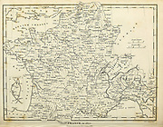Map of France in 1805 Copperplate engraving From the Encyclopaedia Londinensis or, Universal dictionary of arts, sciences, and literature; Volume VII;  Edited by Wilkes, John. Published in London in 1810