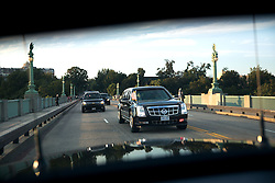 President Barack Obama travels by motorcade in Washington, D.C., Sept. 25, 2014. (Official White House Photo by Lawrence Jackson)<br /> <br /> This official White House photograph is being made available only for publication by news organizations and/or for personal use printing by the subject(s) of the photograph. The photograph may not be manipulated in any way and may not be used in commercial or political materials, advertisements, emails, products, promotions that in any way suggests approval or endorsement of the President, the First Family, or the White House.