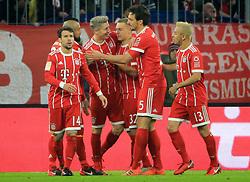 20171118, 1.BL, FC Bayern vs FC Augsburg, Allianz Arena, Muenchen, Fussball,  Sport, im Bild:...FCB jubelt zum 3:0 TorschŸtze Robert Lewandowski (FCB)..*Copyright by:  Philippe Ruiz..Postbank Muenchen.IBAN: DE91 7001 0080 0622 5428 08..Oberbrunner Strasse 2.81475 MŸnchen, .Tel: 089 745 82 22, .Mobil: 0177 29 39 408..( MAIL:  philippe_ruiz@gmx.de ) ..Homepage: www.sportpressefoto-ruiz.de. (Credit Image: © Philippe Ruiz/Xinhua via ZUMA Wire)