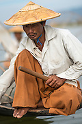 Myanmar, Burma, Inle Lake, leg rowing boatman