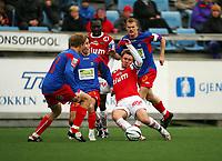 Fotball<br /> Adeccoligaen 2007<br /> 16.05.2007<br /> Tromsdalen v Bryne (1-1)<br /> <br /> Foto: Tom Benjaminsen / Digitalsport<br /> <br /> Paul Oyuga, Bryne<br /> Thomas Heide, Tromsdalen<br /> Morten Giæver, Tromsdalen<br /> Espen Minde, Tromsdalen<br /> Kai Ove Stokkeland, Bryne
