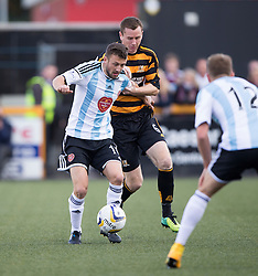 Hearts Dale Carrick and Alloa Athletic's Stephen Simmons.<br /> half time : Alloa Athletic v Hearts, Scottish Championship played at Recreation Park, Alloa.