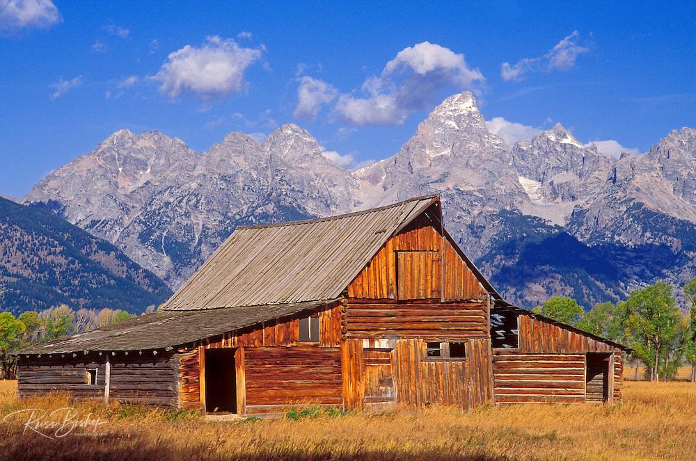Weathered barn on Antelope Flats under the Grand Tetons, Grand Teton National Park, Wyoming