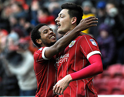 Korey Smith of Bristol City celebrates with goal scorer Milan Djuric of Bristol City  - Mandatory by-line: Nizaam Jones/JMP - 17/03/2018 - FOOTBALL - Ashton Gate Stadium- Bristol, England - Bristol City v Ipswich Town - Sky Bet Championship