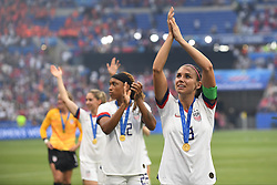 July 7, 2019 - Lyon, France - Alex Morgan (Orlando Pride) of United States celebrates after winning the 2019 FIFA Women's World Cup France Final match between The United State of America and The Netherlands at Stade de Lyon on July 7, 2019 in Lyon, France. (Credit Image: © Jose Breton/NurPhoto via ZUMA Press)
