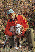 Bob Ciulla with his English Setter pup, Jasper, on the young dog's first grouse and woodcock hunt in northern Wisconsin.