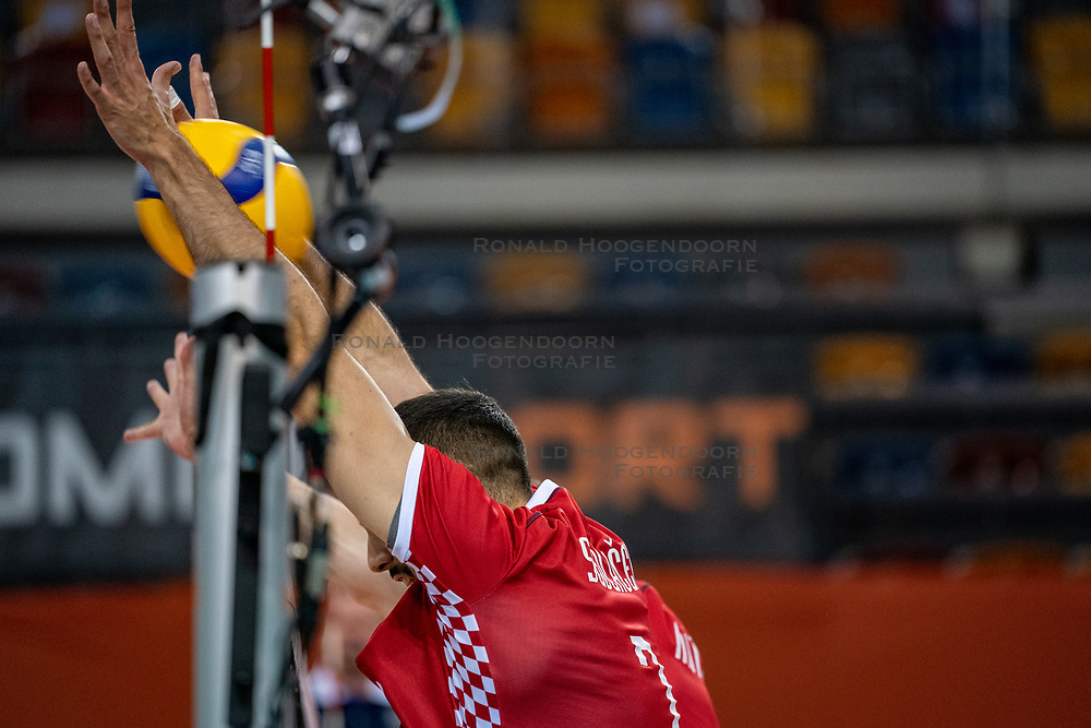 Marko Sedlacek of Croatia in action during the CEV Eurovolley 2021 Qualifiers between Sweden and Croatia at Topsporthall Omnisport on May 15, 2021 in Apeldoorn, Netherlands