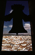 Whitewashed houses of Cordoba seen from the bell tower of the Mosque, Cordoba, Spain.