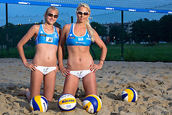 Photoshooting of Beach Volleyball team Erika and Katarina Fabjan, on July 31, 2014 in Ljubljana, Slovenia. Photo by Matic Klansek Velej / Sportida.com