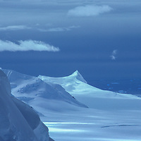 The Hampton Glacier on Alexander Island flows toward ice-choked George VI Sound, which separates the island from the southern Antarctic Peninsula.