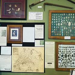 August 4, 2017 - Tangier Island, VA - Arrowheads and colonial pipes form part of a display wall detailing the history of native American and colonial peoples on Tangier Island.<br /> Photo by Susana Raab/Institute