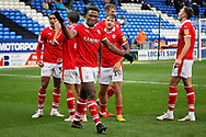 Barnsley defender Dimitri Cavare (12)  leads the celebrations after the fourth Barnsley goal  the EFL Sky Bet League 1 match between Peterborough United and Barnsley at The Abax Stadium, Peterborough, England on 6 October 2018.