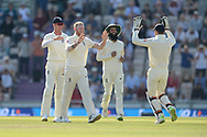 Ben Stokes, Keaton Jennings,Moeen Ali Jos Buttler of England celebrate the wicket of Hardik Pandya during the fourth day of the 4th SpecSavers International Test Match 2018 match between England and India at the Ageas Bowl, Southampton, United Kingdom on 2 September 2018.