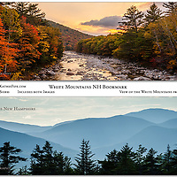 Bookmark - 7x2 Double Sided Full Color. View the White Mountains and E Branch of the Pemigewasset River from Kancamagus Highway.