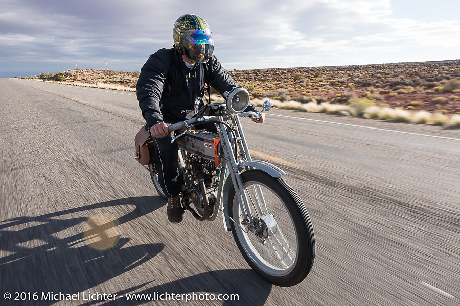 Victor Hugas of Texas riding his Class-1 single-cylinder single-speed 1913 Harley-Davidson out of Page, Arizona on the Motorcycle Cannonball Race of the Century. Stage-12 ride from Page, AZ to Williams, AZ. USA. Thursday September 22, 2016. Photography ©2016 Michael Lichter.