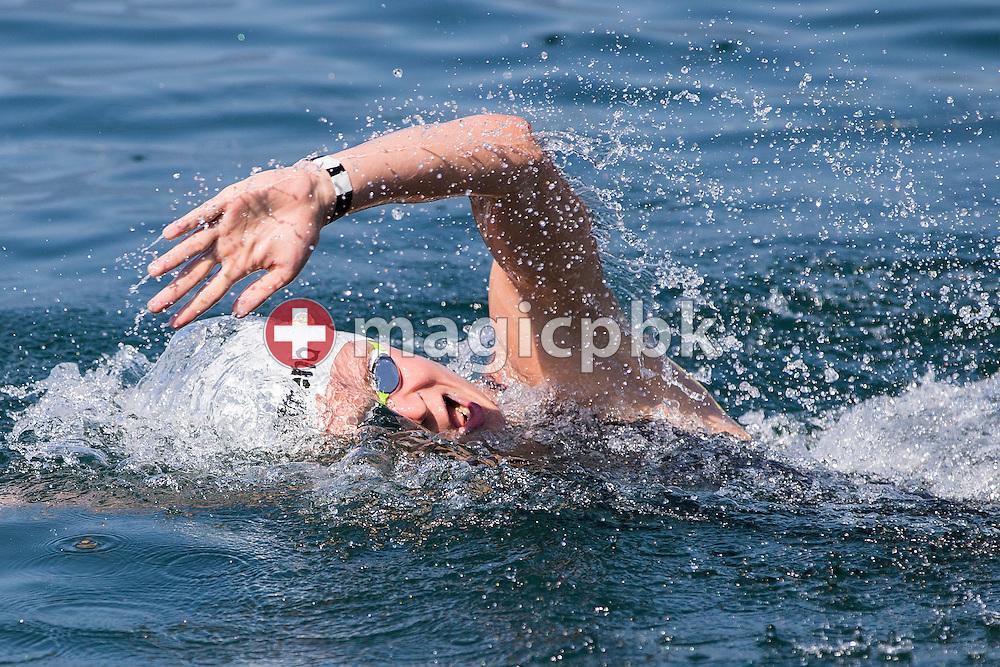 Daniel Kober of the winning team Germany competes in the 3km Team Event during the LEN European Junior Open Water Swimming Championships held in the lake Maggiore (Lago Maggiore) at the Centro sportivo nazionale della gioventu in Tenero, Switzerland, Sunday, July 12, 2015. (Photo by Patrick B. Kraemer / MAGICPBK)