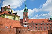 Mury obronne i Zamek Królewski, Stare Miasto w Warszawie, Polska<br /> Walls of the Old Town and Royal Castle, Warsaw, Poland