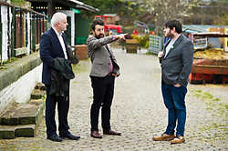Pictured: Mark Ruskell, Local Candidate Dan Heap and Gorgie City Farm Chief Executive Josiah Lockhart<br /> Scottish Greens on local election campaign trail. Mark Ruskell MSP, the party's environment spokesperson, joined candidate for the Sighthill/Gorgie ward Dan Heap on a visit to Gorgie city farm. The pair met Chief executive of the farm, Josiah Lockhart and Develoopment and fundraising manager, Sarah Campbell during their tour.<br /> <br /> <br /> Ger Harley | EEm 19 April 2017