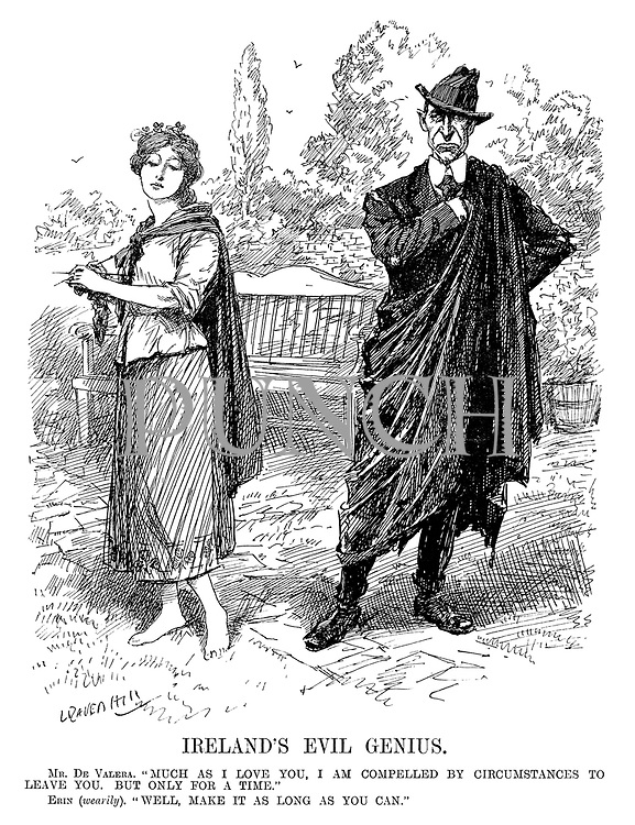 """Ireland's Evil Genius. Mr De Valera. """"Much as I love you, I am compelled by circumstances to leave you. But only for a time."""" Erin (wearily). """"Well, make it as long as you can."""" (cartoon showing Eamon de Valera and Ireland as parting lovers during the InterWar era)"""