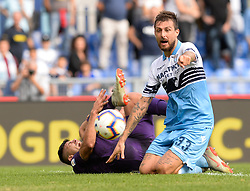 October 7, 2018 - Rome, Italy - Giovanni Simeone and Francesco Acerbi during the Italian Serie A football match between S.S. Lazio and Fiorentina at the Olympic Stadium in Rome, on october 07, 2018. (Credit Image: © Silvia Lore/NurPhoto/ZUMA Press)