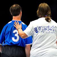 Nederland, Den Bosch, 02-06-2012.<br /> Special Olympics, Spelen voor geestelijk gehandicapten.<br /> Handbal, Gemengd.<br /> Schouderklopje.<br /> Foto : Klaas Jan van der Weij