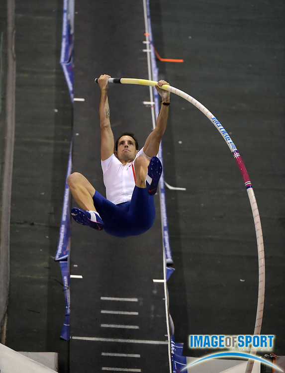 Jan 16, 2015; Reno, NV, USA; Renaud Lavillenie (FRA) wins with a meet record 19-5 (5.92m)  in the UCS National Pole Vault Summit at Reno Livestock Events Center.