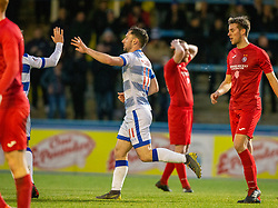 Morton's Robert McHugh cele scoring their first half penalty. half time : Morton 1 v 1 Brora Rangers, 3rd Round of the Scottish Cup played 23/11/2019 at Cappielow, Greenock.