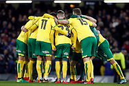 Norwich players gather in a pre match huddle. The Emirates FA Cup, 3rd round replay match, Chelsea v Norwich City at Stamford Bridge in London on Wednesday 17th January 2018.<br /> pic by Steffan Bowen, Andrew Orchard sports photography.