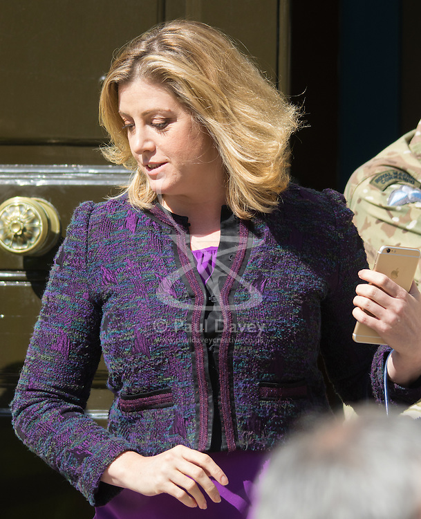 Whitehall, London, July 31st 2015. Amber Rudd, Secretary of State for Energy and Climate Change, leaves the Cabinet Office following a meeting of COBRA to discuss the refugee crisis in Calais.