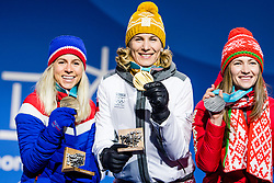 February 18, 2018 - Pyeongchang, SOUTH KOREA - 180218 Marte Olsbu of Norway, Bronze,  Anastasiya Kuzmina of Slovakia, Gold, Darya Domarcheva of Belarus, Silver, celebrating at a Medal Ceremony for Women's 12.5km Mass Start during day nine of the 2018 Winter Olympics on February 18, 2018 in Pyeongchang..Photo: Petter Arvidson / BILDBYRN / kod PA / 91980 (Credit Image: © Petter Arvidson/Bildbyran via ZUMA Press)