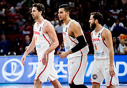 Pau Gasol of Spain, Willy Hernangomez of Spain and Sergio Rodriguez of Spain celebrate during basketball match between National Teams of Spain and Turkey at Day 11 in Round of 16 of the FIBA EuroBasket 2017 at Sinan Erdem Dome in Istanbul, Turkey on September 10, 2017. Photo by Vid Ponikvar / Sportida