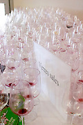 empty glasses after wine tasting millesime bio wine fair montpellier france