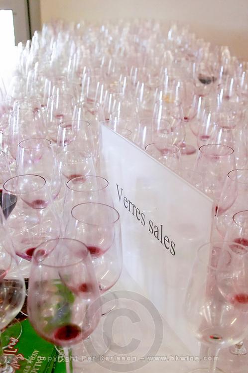 empty glasses after wine tasting millesime bio wine fair montpellier france