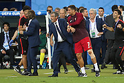 Portugal Forward Cristiano Ronaldo and Portugal Manager Fernando Santos during the Euro 2016 final between Portugal and France at Stade de France, Saint-Denis, Paris, France on 10 July 2016. Photo by Phil Duncan.